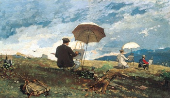 """Artists Sketching in the White Mountains"" by Winslow Homer, 1868, Portland Museum of Art."
