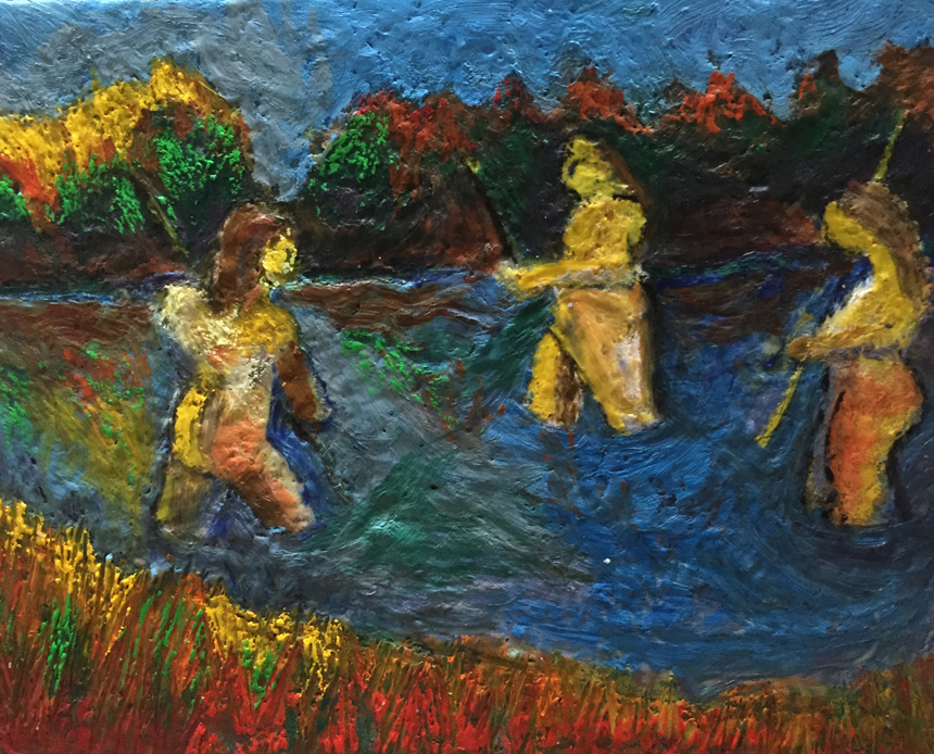 Women Clam Digging-Encaustic on Canvas