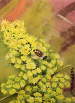 bee on goldenrod painting